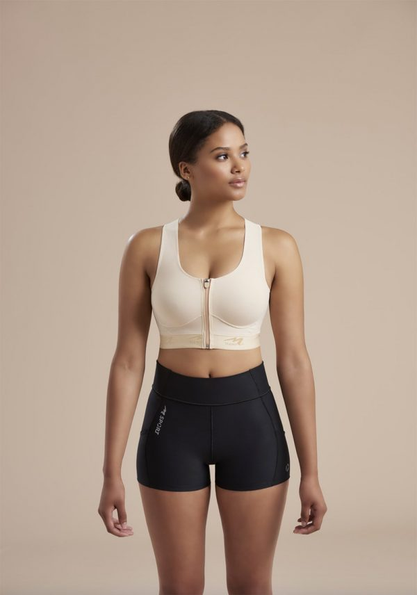 Compression Bra With Pockets - Easy On - Zipper _ 804ZP 02