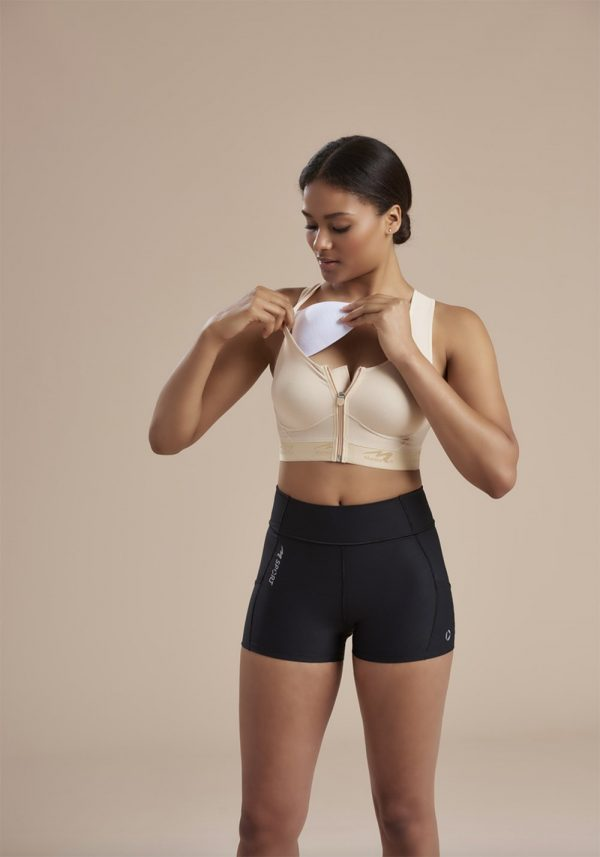 Compression Bra With Pockets - Easy On - Zipper _ 804ZP 04