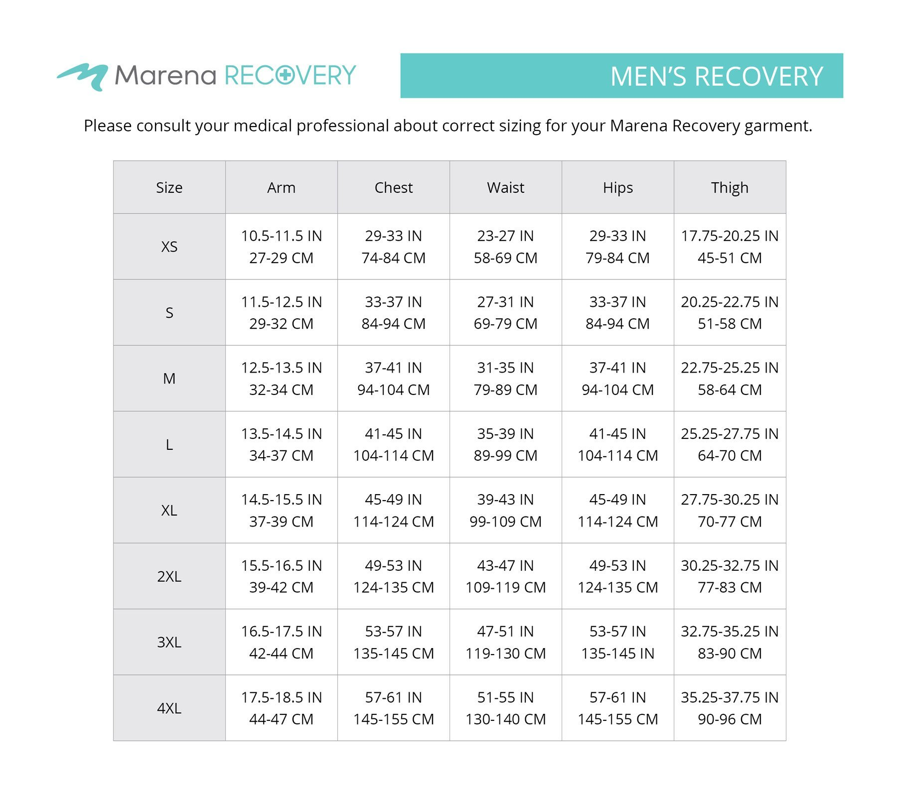 size chart - mens recovery garments